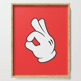 Ok Cartoon Emoji Hands Serving Tray