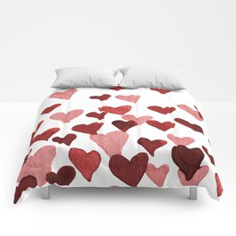 Valentine's Day Watercolor Hearts - red Comforters