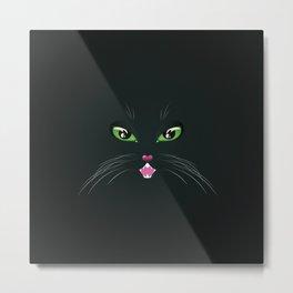 Cat face in the dark Metal Print