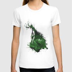 Loki Watercolor SMALL Womens Fitted Tee White