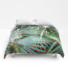 Glitch art / retro 3D style photography | Green, Turquoise, Cyan and pink tropical leaves Comforters
