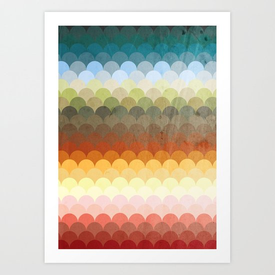 Half Circles Waves Color (2013) Art Print
