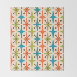 Mid Century Modern Abstract Star Pattern 441 Orange Brown Turquoise Chartreuse Throw Blanket
