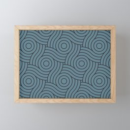 Circle Swirl Pattern Inspired by Behr Color of the Year 2019 Blueprint Blue S470-5 Framed Mini Art Print