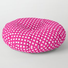 Small White Crosses on Hot Neon Pink Floor Pillow