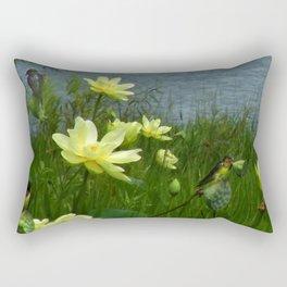 Lotus & Swallows Rectangular Pillow