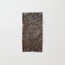 Mandala - rose gold and black marble 3 Hand & Bath Towel