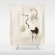 Oriental Red-Crowned Crane 002 Shower Curtain