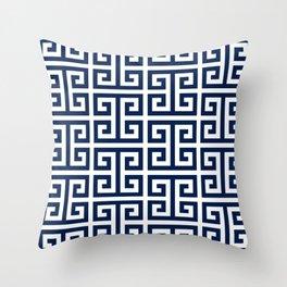 Dark Navy Blue and White Greek Key Pattern Throw Pillow