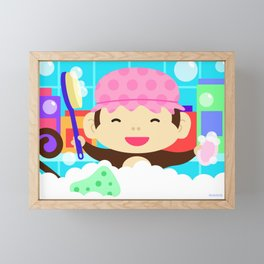 Monkey in a bath Framed Mini Art Print