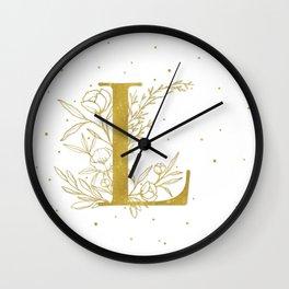 Letter L Gold Monogram / Initial Botanical Illustration Wall Clock