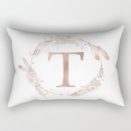 Letter T Rose Gold Pink Initial Monogram Rectangular Pillow