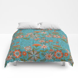 Fantasy Floral in Blue and Orange Comforters