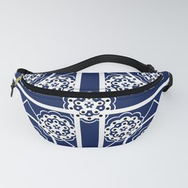 Floral and geometric white decor on blue background Fanny Pack