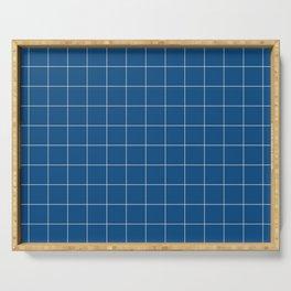 Windowpane Check Grid (pantone classic blue) Serving Tray