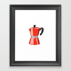 Red Italian Stove-Top Cafetiere Framed Art Print
