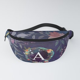 Personalized Monogram Initial Letter A Floral Wreath Artwork Fanny Pack