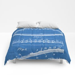 Football Patent - American Football Art - Blueprint Comforters