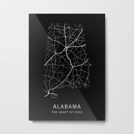 Alabama State Road Map Metal Print