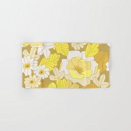 Yellow, Ivory & Brown Retro Flowers Hand & Bath Towel