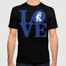 Robot LOVE - Blue Black MEDIUM Mens Fitted Tee