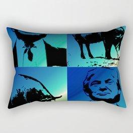 Trump with Pig Blue Rectangular Pillow