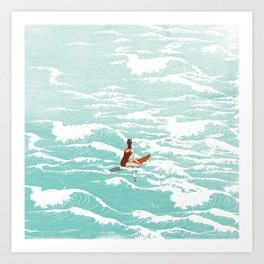 Out on the waves Art Print