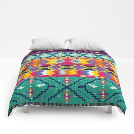 Seamless colorful aztec pattern with birds Comforters