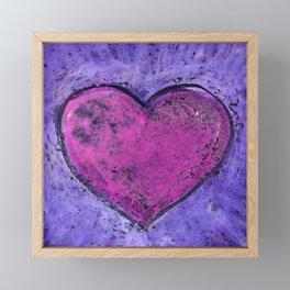 Valentines day. Big pink heart on purple background. Oil pastel. Framed Mini Art Print