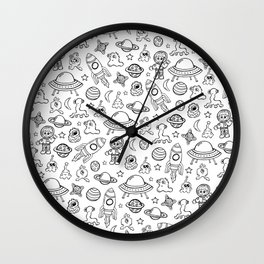 Space Print, Black and White pattern, Alien Illustration, Outer Space, Rocket Ship Wall Clock