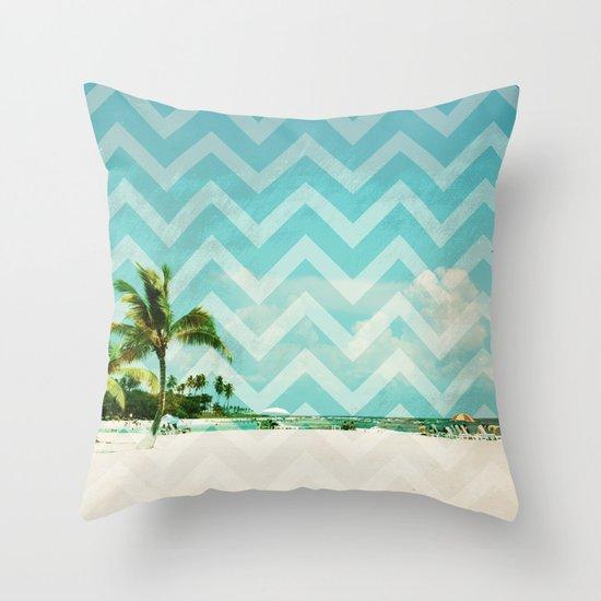 Chevron Beach Dreams Throw Pillow