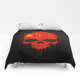 Flag of China on a Chaotic Splatter Skull Comforters