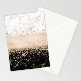Elegant rose gold confetti marble design Stationery Cards