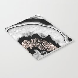 Gray Black White Agate with Rose Gold Glitter #1 #gem #decor #art #society6 Notebook