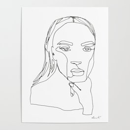 Minimal One Line Art Woman Poster