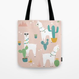 Summer Llamas on Pink Tote Bag