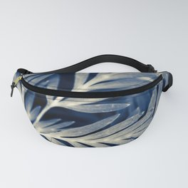 Navy Blue Leaves Fanny Pack