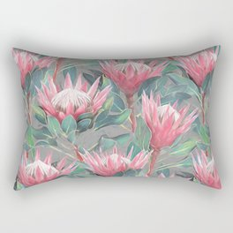 Pink Painted King Proteas on grey Rectangular Pillow