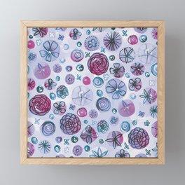 Flowers in Circles | Purple Framed Mini Art Print