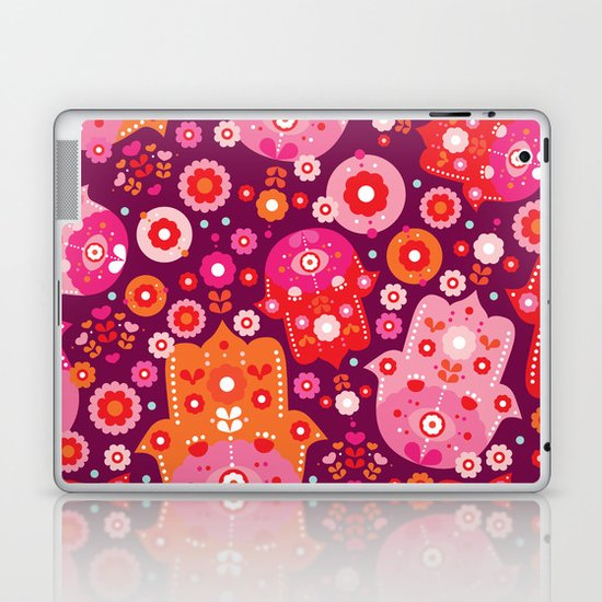 Traditional hamsa illustration hand of fatima oasis Laptop & iPad Skin