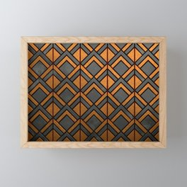Cascading Squares Copper and Black - Art Deco Pattern Framed Mini Art Print