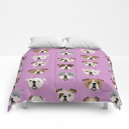 English Bulldog faces cute dog art pet portrait must have gifts for english bulldog owners Comforters
