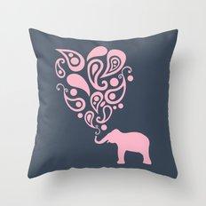 Pink Grey Paisley Elephant Pattern Design Throw Pillow