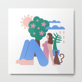 Girl with Cat and Tree Graphic Metal Print