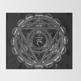 Black and White Throat Chakra Throw Blanket