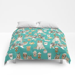 Shetland Sheepdog blue merle sheltie dog breed coffee pattern dogs portrait sheepdogs art Comforters