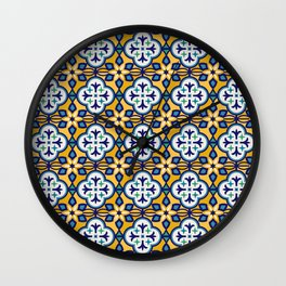 Yellow and Blue Moroccan Tile Wall Clock