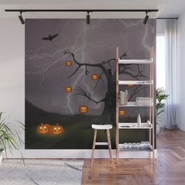SCARY HALLOWEEN TREE Wall Mural