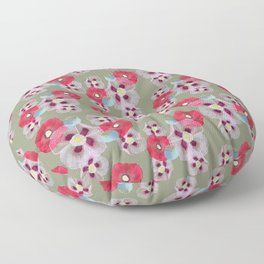 Poppies In The Park Pattern Floor Pillow