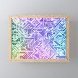 Cool Gradient (Violet Purple Blue Green) Geometric Pattern Print Design Framed Mini Art Print